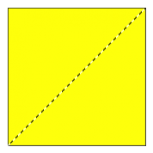 Square with a diagonal dotted line